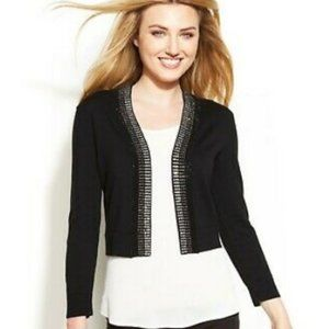 Rhinestoned Shrug Cardigan Black Cropped Sweater